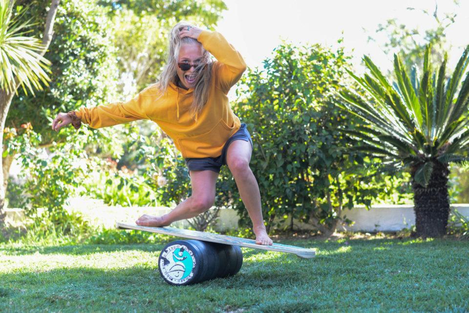 Hannah Hofinger balancing on our indo board
